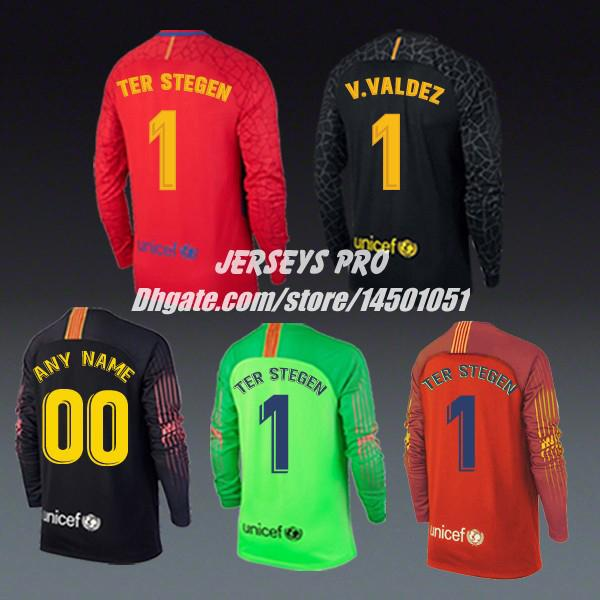 68c2c39c94c Ter Stegen Victor Valdes 2017 2018 2019 home away third Black red green soccer  jerseys Goalkeeper Goalie GK full long sleeve shirts uniforms