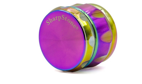 SharpStone Macinacaffè con grinder rainbow a forma di tamburo Sharpstone Herb Grinders 4 Livelli Macinacaffè in metallo nero Gold