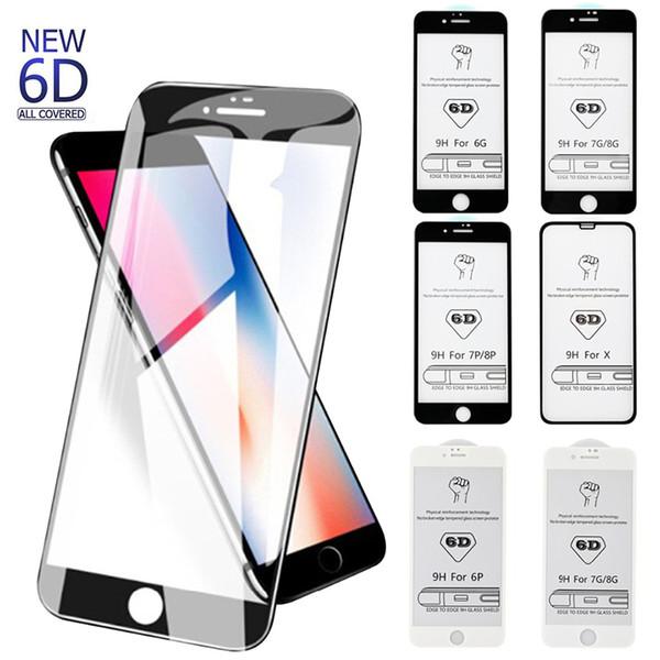 6D Curve Protector de pantalla de cristal completo para iPhone X 6s 7 Plus Negro cubierta completa Protector de pantalla de vidrio templado