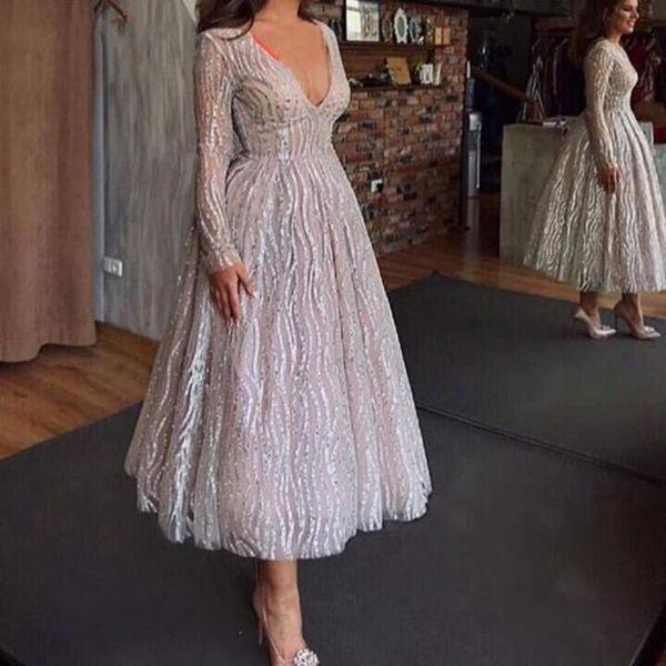 2019 Sexy Sequined evening dresses Deep V Neck Short Prom gowns Long sleeve abiye robe de soiree formal dress