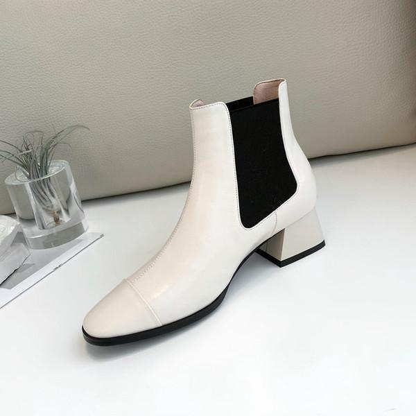 Корова натуральная кожа женщины ботильоны черный белый молния сапоги на низком каблуке повседневная женская обувь для осени