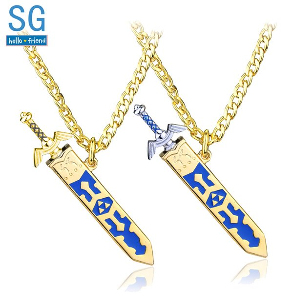 SG Legend of Zelda Necklaces Master Sword Triforce Hylian Shield Majora Mask Breath Wild Eye Pendants Keyring Men Jewelry Gift