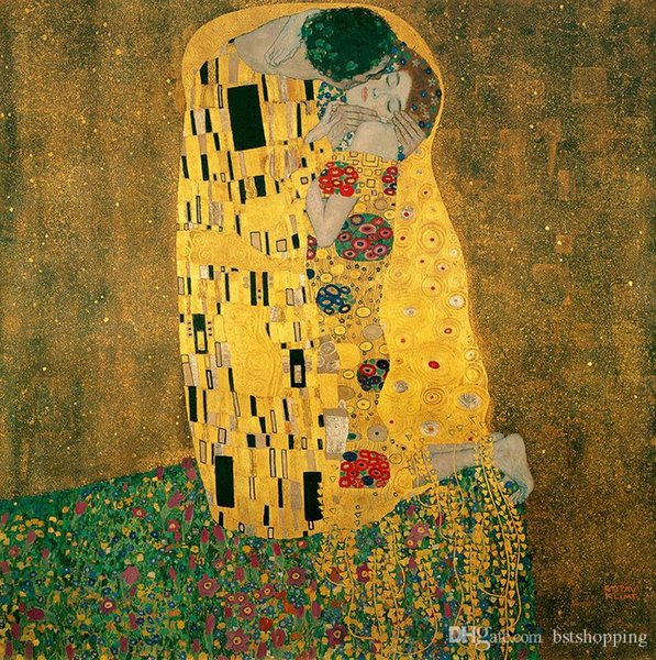 The Kiss by Gustav Klimt Hand Painted & HD Print Famous Abstract Art Oil Painting Wall Art Home Deco On High Quality Canvas p186
