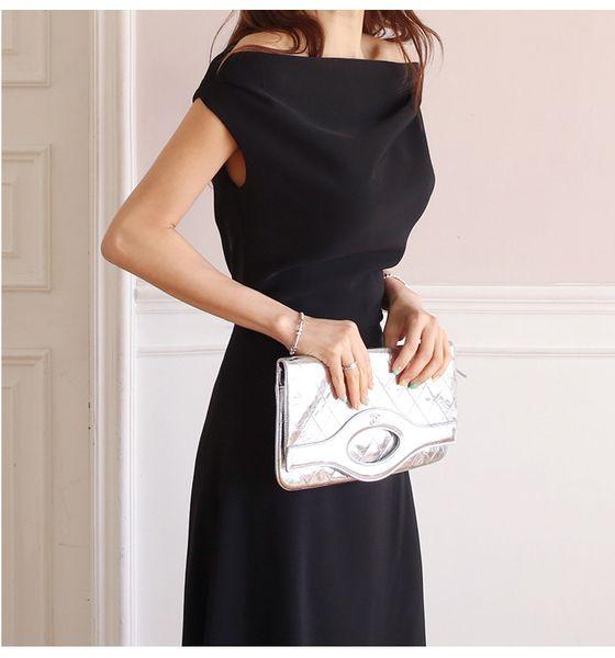 Long Dress Fashionable Casual Black Dress Short Sleeve Slash Neck Comfortable Fabric Summer Clothing Polyester A Line Dress For Women