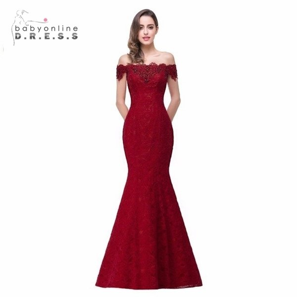 Precio barato Elegante Con cuentas de cristal Rojo Royal Blue Sirena Vestidos largos de noche 2019 Vestido de fiesta de graduación Robe De Soiree Longue Y19042701
