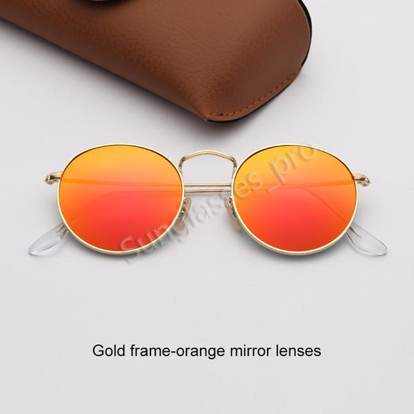 Золотые зеркальные линзы рамка-оранжевый
