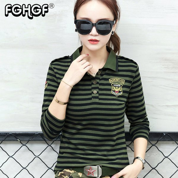 High Quality Casual Polo Shirt Plus Size Women Long Sleeve Tops Military Style Cotton Army Green Stripes Slim Polo Shirt M822 Q190426