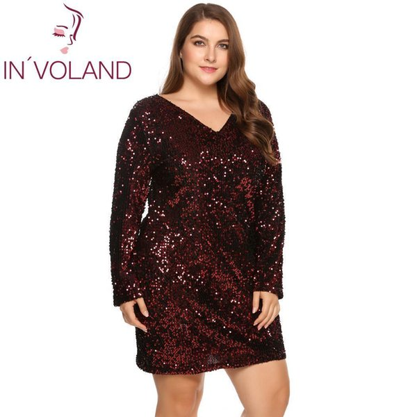 In'voland Women's Dress Plus Size Sexy Deep V-neck Long Sleeve Sequined Bodycon Cocktail Club Sheath Loose Ladies Dresses Q190510