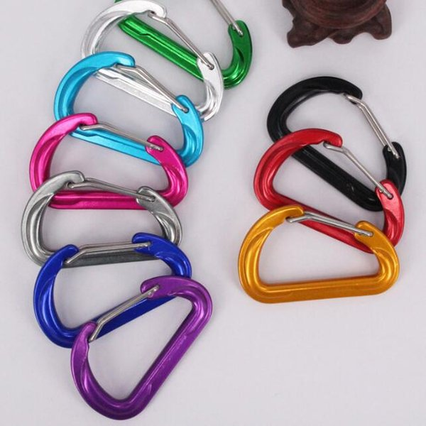 Carabiner Keyrings Key Chain Outdoor Sports Camp Snap Clip Hook Keychains Hiking Aluminum Metal Stainless Steel Hiking Camping 37*60MM