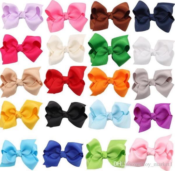 hot sale Korean 3 INCH Grosgrain Ribbon Hairbows Baby Girl Accessories With Clip Boutique Hair Bows Hairpins Hair ties HD3201