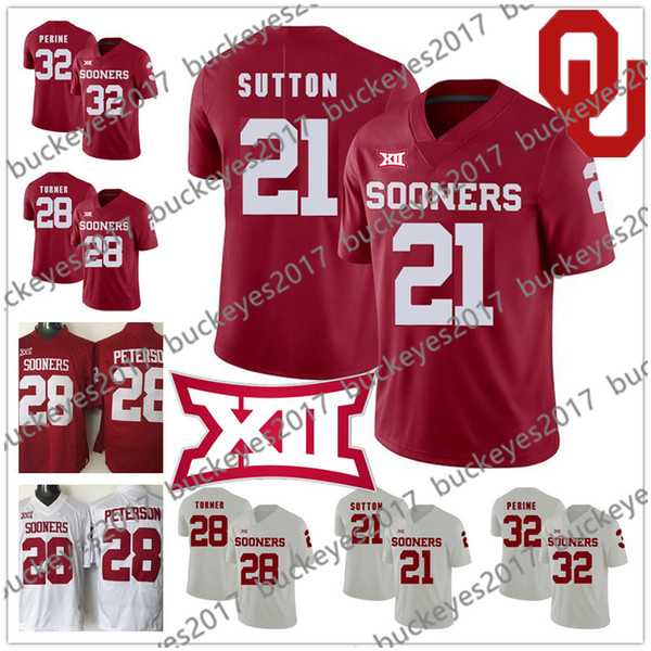 Oklahoma Sooners #21 Marcelias Sutton 28 Chanse Sylvie Reggie Turner 32 Caleb Nettles NCAA New Brand Jump College Football Red White Jersey
