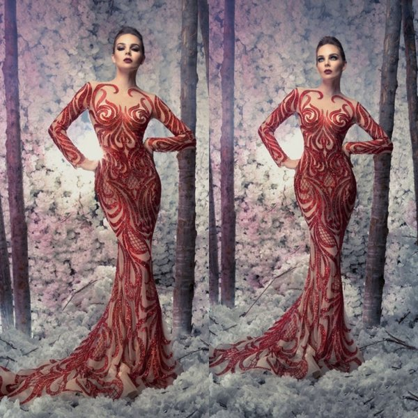 Sexy Red 2019 Berta Evening Dresses Mermaid Long Sleeve Illusion Lace Sequined Formal Prom Gowns Sweep Train Sheer Neck Party Pageant Dress