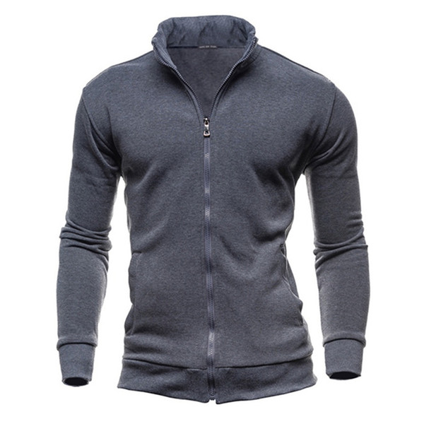 Bigsweety New Fashion Mens Sweatshirt Hoodies Male Casual Solid Color Stand Collar Zipper Coat Male Hoody Tracksuit Plus Size