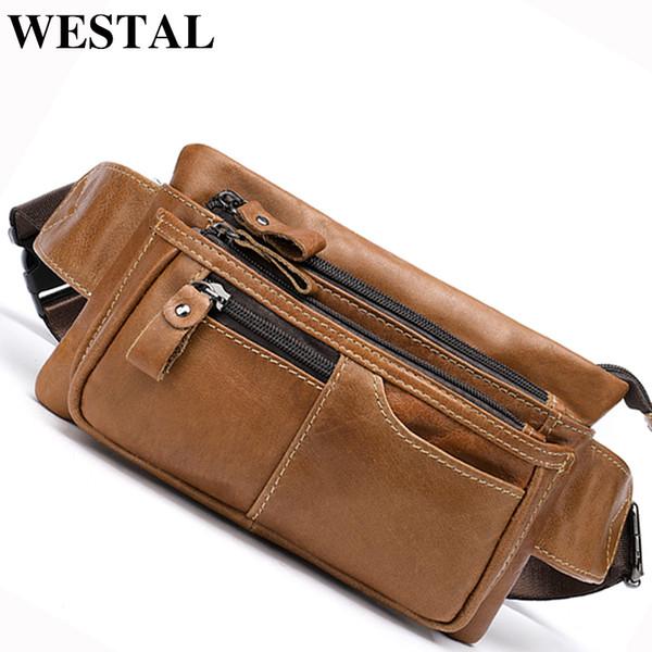 WESTAL Fanny Pack for Men Waists Bag Unisex Waist bag Leather Travel Pouch Packs Hidden Wallet Passport Money Waist Belt Man