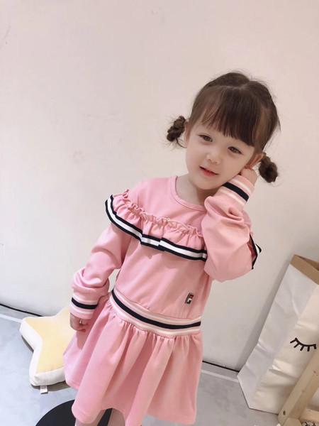 Yeni Kız Elbise Parti Bebek Kız Giysileri Çocuk Rahat Uzun Kollu Elbise Çocuklar Kızlar için dantel Elbiseler