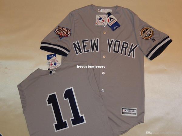 Pas cher personnalisé New York # 11 BRETT GARDNER 2009 SÉRIE MONDE Baseball Jersey GRIS New Mens cousu maillots Big And Tall TAILLE XS-6XL à vendre