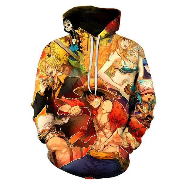 Anime One Piece Hoodies 3D Print Pullover Sweatshirt Monkey D Luffy Ace Sabo Battle Tracksuit Outfit Casual Outerwear plus S-6XL