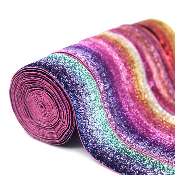 5Yard Shiny Rainbow Glitter Fold Over Ribbon for Wedding Decor Material DIY Apparel Sewing Elastic Band Arts Crafts & Sewing 5Yard Shiny