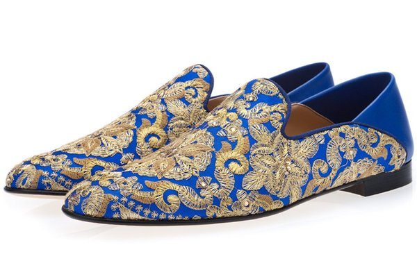 Free shipping luxury Chinese Men leather Loafers Flats handwork embroider dress Shoes Slip-On Sapato Feminino Male Homecoming Blue size39-46