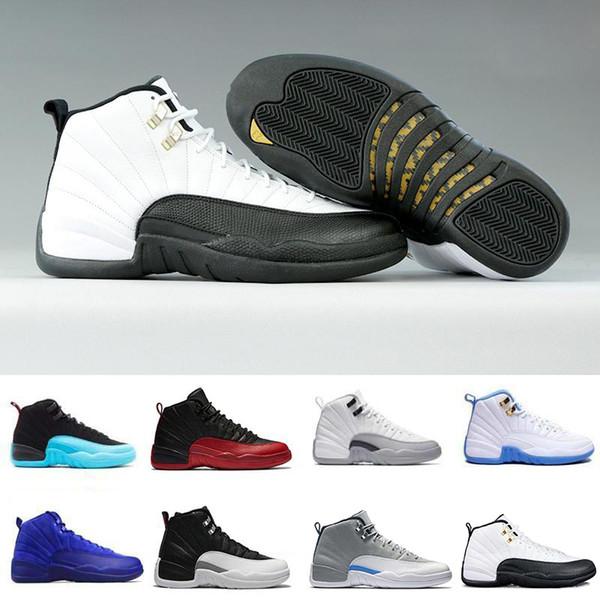 Nuevas zapatillas de baloncesto 12 12s para hombres blancas el maestro juego de la gripe gimnasio barones rojos playoff Universidad azul lana para hombre zapatillas deportivas