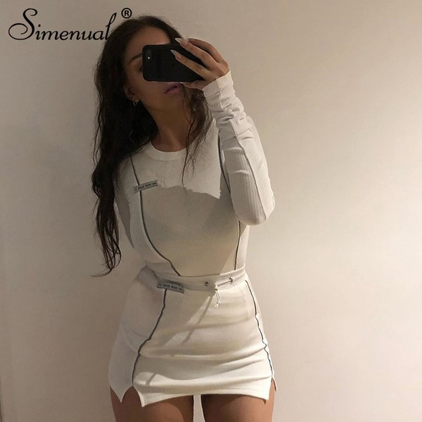 Simenual Casual Fashion Reflective Striped Two Piece Outfits Women Long Sleeve Top And Mini Skirt Sets 2019 Autumn White Set New Y200110