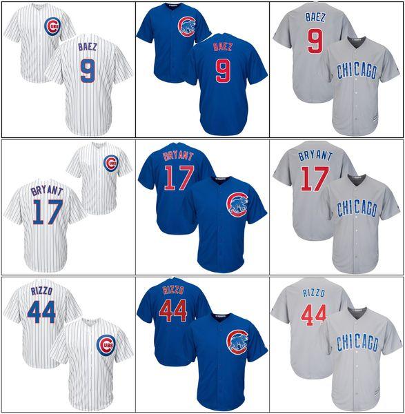Men Chicago Cheap Cubs Kyle 12 Schwarbers Kris 17 Bryant 9 Javier Baez Anthony 44 Rizzo White blue Jerseys cool Base Baseball Jerseys