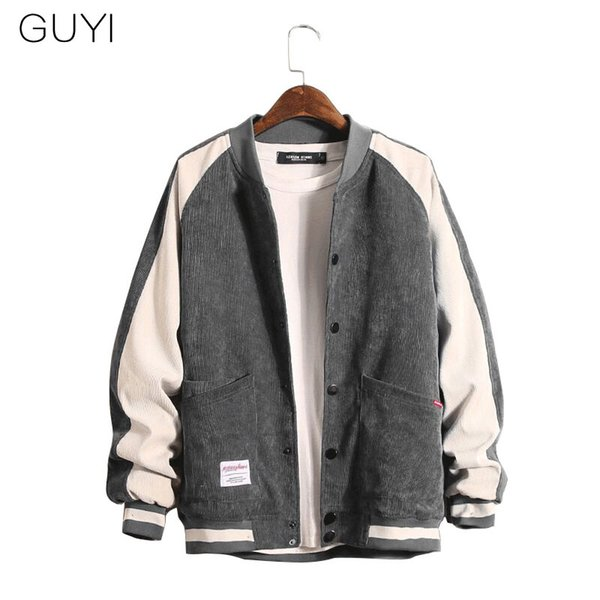 GUYI Patchwork Corduroy Baseball Jackets Men's Rib Sleeve Slim Single Breasted Outerwear&Coats Fashion Streetwear Sport Jackets