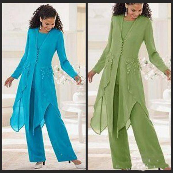 2018 Sıcak Satış Zarif Şifon Uzun Kollu Ile Jewel Boyun Ruffles Anne Gelin Pantolon Takım Elbise Anne Ceket ile Suits