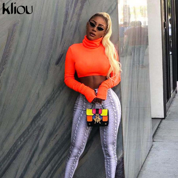 Kliou 2018 Autumn Winter Women Turtleneck Sweatshirts Full Sleeve Fluorescence Solid Color Female Short Pullovers Hoodies Tops C19041102