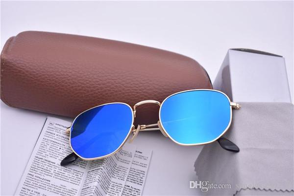 Sunglasses women men Brand Designer Metal Frame Unique Hexagonal Flat lens Coating uv400 Sun glasses Goggle Eyewear with box and cases