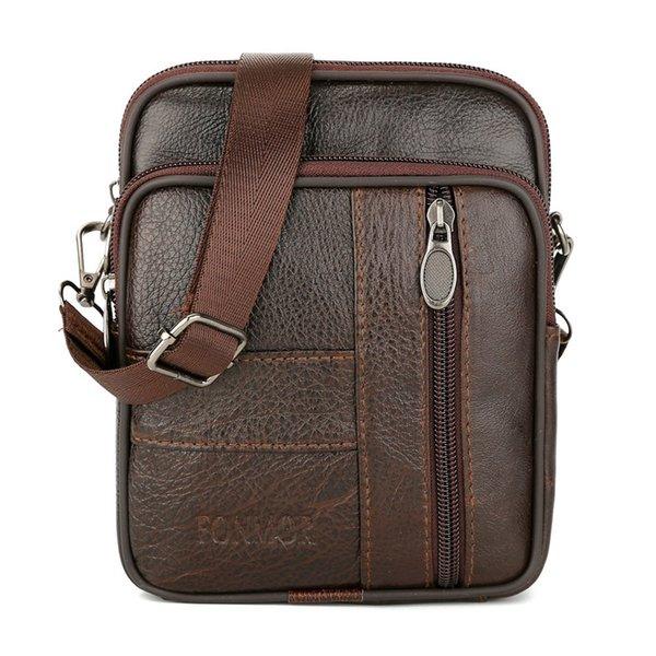 Moda Vintage Uomo Pure Color Leather Commerce Cross body Bags Borsa a tracolla PU Leather Satchels Zipper Versatile # 75