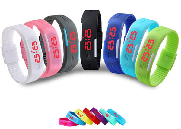 Watches Exquisite Kids Fashion Bracelet Digital Watches For Men&Ladies&Child Clock Womens Rubber Sports Wristwatch LED Digital Watch