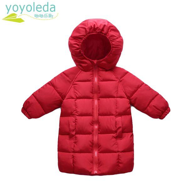 Crianças Casaco Bebés Meninos Casacos de Inverno Casaco Vermelho Longo Casaco de Manga Comprida Roupas de Menina Crianças Casaco Com Capuz Quente Outerwear Inverno