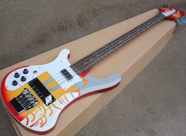 best selling Left Right Handed 4 Strings Sticker Electric Bass with White Pickguard,Rosewood Fretboard with Dot Inlay,Can be Customized As Request