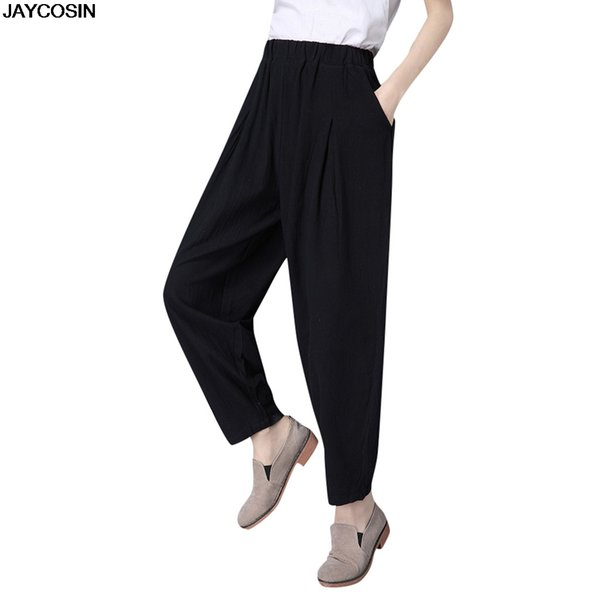 JAYCOSIN pants summer Ladies literary solid color versatile elastic waist loose casual pant cotton hot sale Polyester cloth 9524