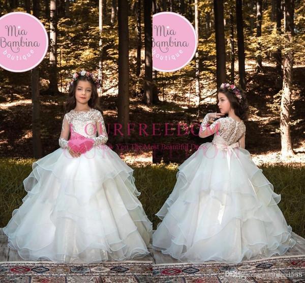 Sparkly Crystal White Princess Girls Pageant Vestidos Lujo Tulle Floor Length Niños Vestidos de novia Formal niña de flores vestido