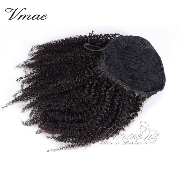 VMAE Human afro kinky curly Ponytail Hair 100g Natural Non Remy Hair horsetail tight hole Clip In Drawstring Ponytails Hair Extensions