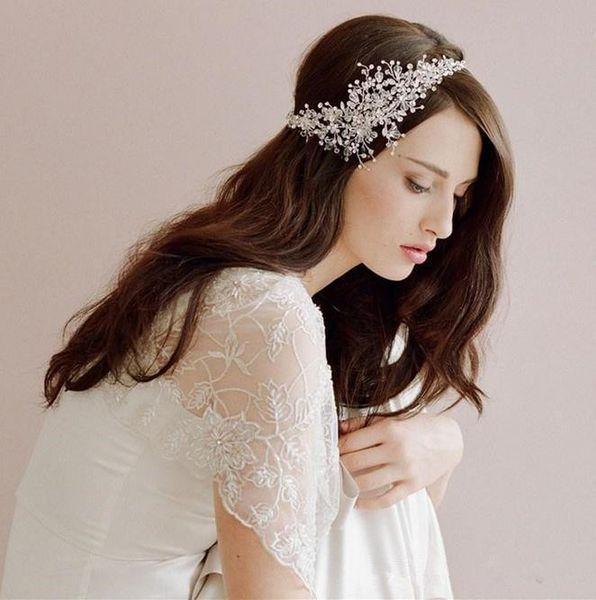 Moda 2019 Accesorios para el cabello nupcial Corea brillante boda nupcial Casco escocés Tiara Crown Lady diadema corona de boda pinzas para el cabello