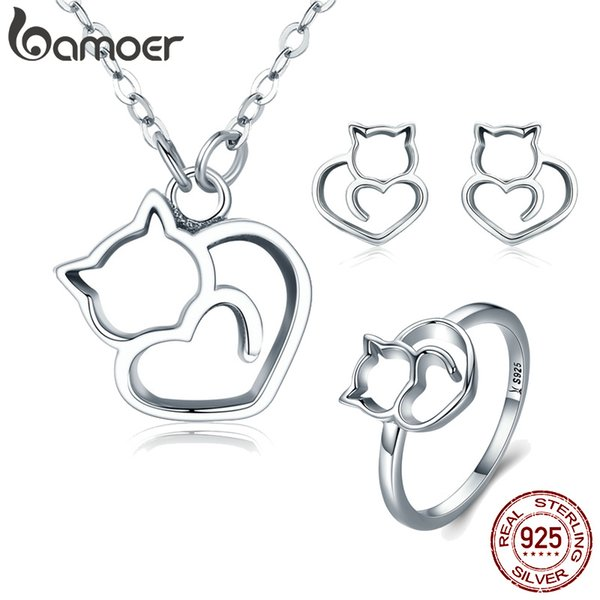 3PCS Jewelry Sets Sterling Silver Fashion Cute Little Animal Pet Cat Animal Earrings Women Finger Ring Pendant Necklaces Fine Jewelry Gift