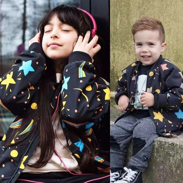 Spring Autumn Star Print Zipper Long Sleeve Kids Outerwear Coat For Girls Boys 3-7Y Baby Girl Boy Winter Thin Jacket