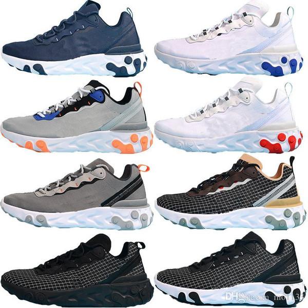 HOT Cheap React Element 55 Hommes Chaussures de course jeu. Pour les hommes Designer Sneakers Respirant Hommes formateur Chaussures jeu Zaptos