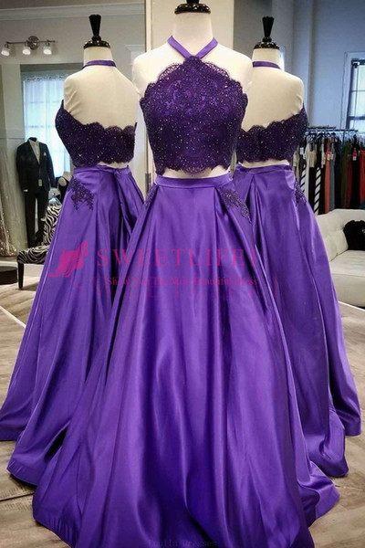 2019 Elegant Purple Prom Dresses Halter Neck Two Piece Lace Appliques A Line Floor Length Formal Evening Occasion Party Dresses Custom Made