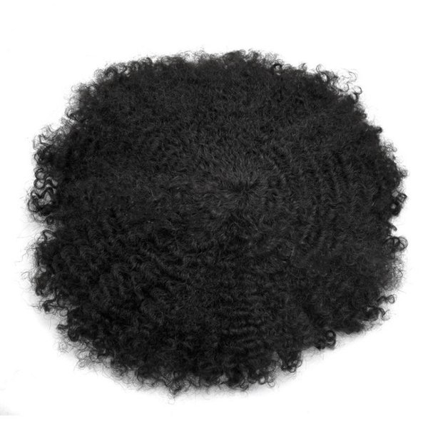 Afro Curly Mens Toupee Full Poly Toupee For Men Hairpieces Replacement Systems African American Human Hair All Skin Pu Men Wig