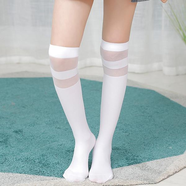 Лето Белого Колена высоких носков Дети девушка длинные носки пробки для детей Школы Студент Uniform Velvet Кружево Stripe тонких носков