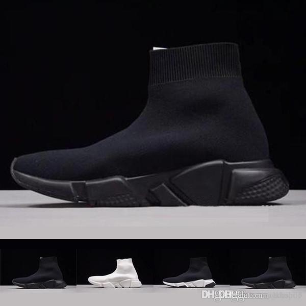 Kutu ile 2019 Yeni Paris Hız Eğitmenler Örgü Çorap Ayakkabı Orijinal Lüks Tasarımcı Mens Womens Sneakers Ucuz Yüksek En Kaliteli Rahat Ayakkabı