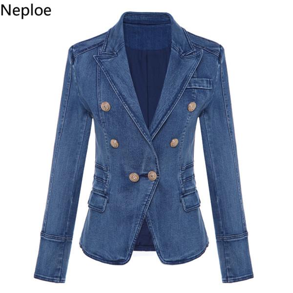 Nepole Denim Serin Kız Düğmeleri Kadın Ceket Modis Kruvaze Cepler Üst 2019 İlkbahar Sonbahar Rahat Ince Bel Blazer 42715