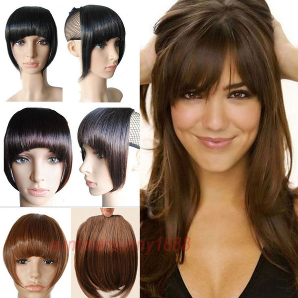 8 Inches Short Front Neat bangs Clip in bang fringe Hair extensions straight High Temperature Synthetic 100% Real Natural hairpiece