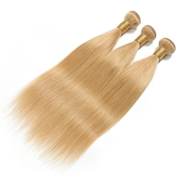 Colored 27 Brazilian Honey Blonde Bundles Brazilian Hair Straight 3 Human Hair Bundles Non Remy Weave