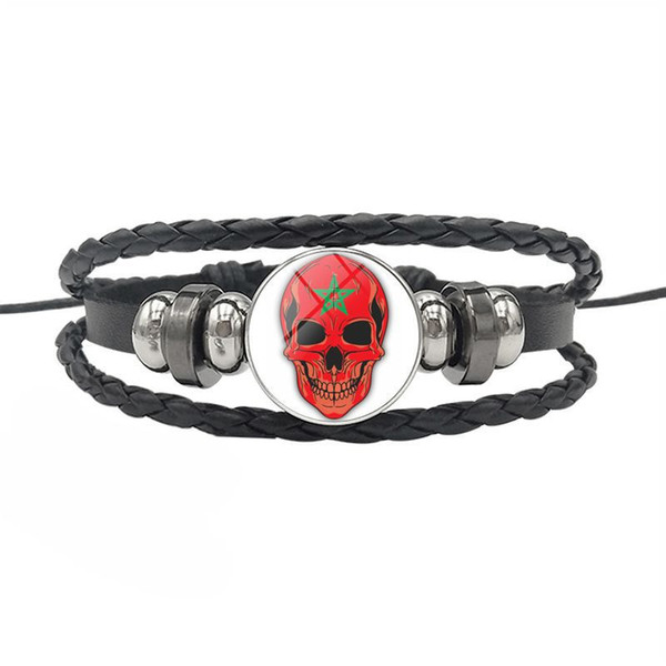 High Quality Morocco National Flag Time Gem Glass Cabochon Skull Series Button Bracelets Genuine Leather Rope Beaded Jewelry for Mens Womens