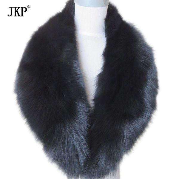 Real Fox Fur Collar Women 100% Natural Fox Fur Scarf Winter Warm Fur Collar Scarves Black D19011003